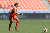 Houston, TX - Saturday May 27, 2017: Cami Privett looks to pass the ball during a regular season National Women's Soccer League (NWSL) match between the Houston Dash and the Seattle Reign FC at BBVA Compass Stadium.
