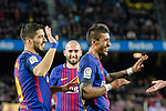 Luis Suarez of FC Barcelona (L) celebrates his goal with Paulinho Maciel of FC Barcelona (R) during the La Liga 2017-18 match between FC Barcelona and Deportivo La Coruna at Camp Nou Stadium on 17 December 2017 in Barcelona, Spain. Photo by Vicens Gimenez / Power Sport Images
