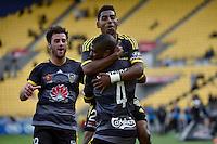 Rolieny Bonevacia and Roy Krishna in action during the A League - Wellington Phoenix v Melbourne City at Westpac Stadium, Wellington, New Zealand on Sunday 30 November 2014.