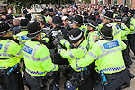 © Joel Goodman - 07973 332324 - all rights reserved . 14/07/2012 . Bristol , UK . Police clash with EDL . Demonstrations by the EDL and a counter demonstration by antifascists in Bristol . Photo credit : Joel Goodman