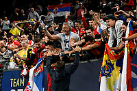 12th January 2020; Sydney Olympic Park Tennis Centre, Sydney, New South Wales, Australia; ATP Cup Australia, Sydney, Day 10; Serbia versus Spain; Srebian fans celebrate after their team wins the ATP Cup after defeating Team Spain - Editorial Use