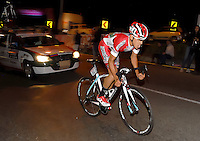 COLOMBIA. 16-08-2014. Alexis Camacho ciclista durante la contrarreloj individual nocturna de 17.5 Km en la penúltima etapa de la Vuelta a Colombia 2014 en bicicleta que se cumple entre el 6 y el 17 de agosto de 2014. / Alexis Camacho cyclist during the night individual time trial of 17.5 Km in the penultimate stage of the Tour of Colombia 2014 in bike holds between 6 and 17 of August 2014. Photo:  VizzorImage/ José Miguel Palencia / Str