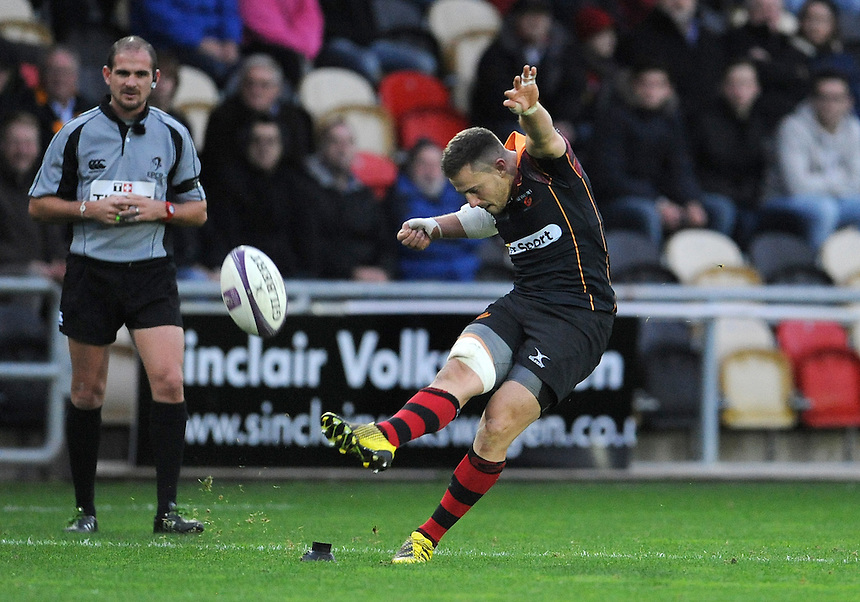 Newport Gwent Dragons' Dorian Jones attempts a conversion<br /> <br /> Photographer Ian Cook/CameraSport<br /> <br /> Rugby Union - European Rugby Challenge Cup Pool 2 - Newport Gwent Dragons v Sale Sharks - Sunday 15th November 2015 - Rodney Parade - Newport<br /> <br /> &copy; CameraSport - 43 Linden Ave. Countesthorpe. Leicester. England. LE8 5PG - Tel: +44 (0) 116 277 4147 - admin@camerasport.com - www.camerasport.com