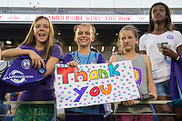 Orlando, FL - Saturday Sept. 24, 2016: Fans after a regular season National Women's Soccer League (NWSL) match between the Orlando Pride and FC Kansas City at Camping World Stadium.