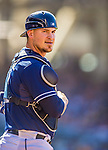 22 June 2013: San Diego Padres catcher Yasmani Grandal looks back to the dugout during game action against the Los Angeles Dodgers at Petco Park in San Diego, California. The Dodgers defeated the Padres 6-1 in the third game of their 4-game Divisional Series. Mandatory Credit: Ed Wolfstein Photo *** RAW (NEF) Image File Available ***