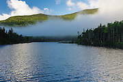 Fog blowing over Beaver Pond in Kinsman Notch of the New Hampshire White Mountains during the spring months.