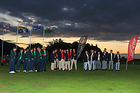 Team Ireland, Wales and Scotland at the awards ceremony of the Men's Home Internationals 2018 at Conwy Golf Club, Conwy, Wales on Friday 14th September 2018.<br /> Picture: Thos Caffrey / Golffile<br /> <br /> All photo usage must carry mandatory copyright credit (&copy; Golffile | Thos Caffrey)