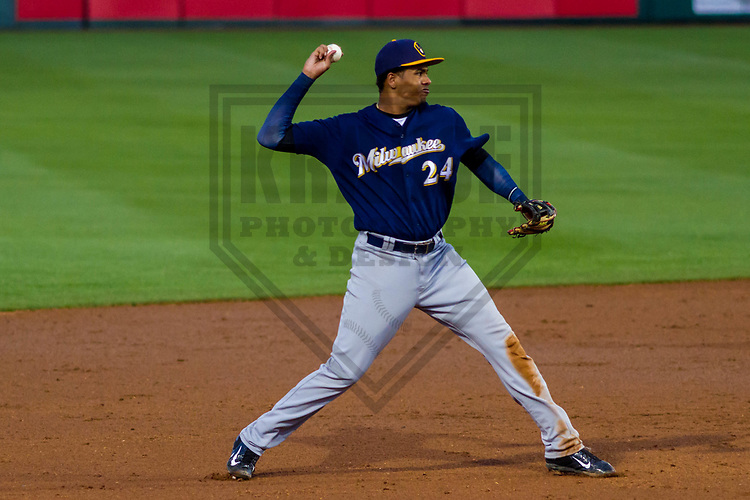 Milwaukee Brewers shortstop Gilbert Lara (24) during a minor league spring training game against the Los Angeles Angels of Anaheim on March 20th, 2017 at Tempe Diablo Stadium in Tempe, Arizona.  (Brad Krause/Krause Sports Photography)