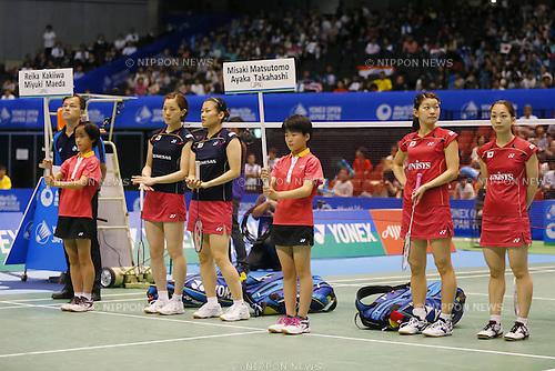 (L-R) Miyuki Maeda, Reika Kakiiwa, Ayaka Takahashi, Misaki Matsutomo (JPN), June 15, 2014 - Badminton : Yonex Open Japan 2014 Women's Doubles final at Tokyo Metropolitan Gymnasium, Tokyo, Japan. (Photo by Yusuke Nakanishi/AFLO SPORT) [1090]