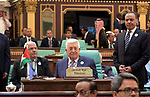 Palestinian President Mahmoud Abbas attends an emergency Arab League summit in Mecca, Saudi Arabia, on May 30, 2019. The Arab League and the Gulf Cooperation Council on Thursday called on Iran to reconsider its role in the region, Saudi Press Agency reported on Friday. In a press statement after the Gulf and Arab summits held in the Saudi city of Mecca, Saudi Foreign Minister Ibrahim Al-Assaf voiced the support from the Gulf and Arab countries for Saudi Arabia and the United Arab Emirates (UAE) against the recent attacks they have witnessed. Photo by Thaer Ganaim