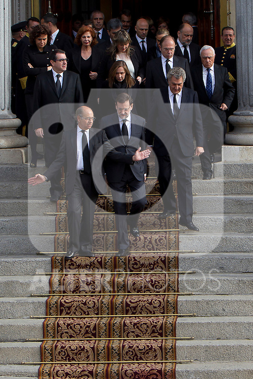Prime Minister Mariano Rajoy (center) currently awaiting the arrival of the coffin before the funeral chapel in honor of Prime Minister Adolfo Suarez in Congress in Madrid, Spain. March 24, 2014. (ALTERPHOTOS/Caro Marin)
