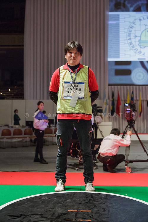 Tokyo, Japan, December 18 2016 - International ROBOT SUMO tournament 2016, held in the Ryogoku Kokugikan, the stadium for sumo tournaments. Part 2: International competition. Yoshifumi MATSUNAGA won both Japanese and international competitions (radiocontrolled robots) this year.