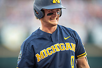Michigan Wolverines catcher Joe Donovan (0) during Game 6 of the NCAA College World Series against the Florida State Seminoles on June 17, 2019 at TD Ameritrade Park in Omaha, Nebraska. Michigan defeated Florida State 2-0. (Andrew Woolley/Four Seam Images)