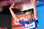 Maximilian Schachmann (GER) Quick-Step Floors retains the young riders Maglia Bianca on the podium at the end of Stage 5 of the 2018 Giro d'Italia, running 153km from Agrigento to Santa Ninfa (Valle del Belice), Sicily, Italy. 9th May 2018.<br /> Picture: LaPresse/Massimo Paolone | Cyclefile<br /> <br /> <br /> All photos usage must carry mandatory copyright credit (&copy; Cyclefile | LaPresse/Massimo Paolone)