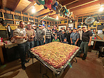 Members of the Serbian Meat Shop crew of Amador County prepares and stuffs their Srpska kobasica: Serbian domestic sausage using their secret recipe and methods during their annual winter gathering.