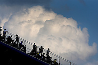 Sep 15, 2013; Charlotte, NC, USA; NHRA fans in the grandstands as clouds form in the sky during the Carolina Nationals at zMax Dragway. Mandatory Credit: Mark J. Rebilas-