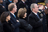 Members of the Bush family, including Former First Lady Laura Bush and President George W. Bush, look on as the remains of President George H.W. Bush are transported from the U.S. Capitol to the National Cathedral Wednesday December 5, 2018. <br /> Credit: Sarah Silbiger / Pool via CNP