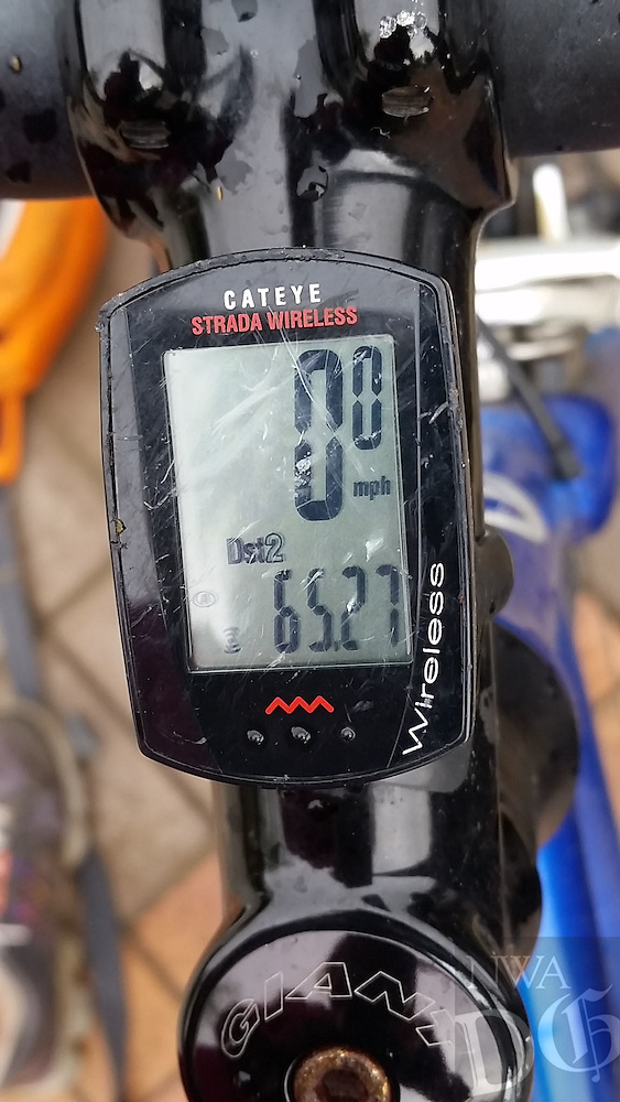 Courtesy photo<br /> The odometer on Karen Mowry's bicycle displays the length of her 65-mile birthday ride.
