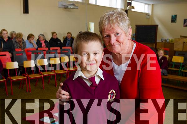 Anne Pullen with her grandson Luke at Moyderwell School Grandparents day on Wednesday.