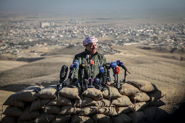 13/11/2015-- Iraq,Sinjar -- Masud Barzani the president of Kurdistan region and the commander of Kurdish forces is holding a press conference on the top of Sinjar Mountain, after the liberation of Sinjar he got to Sinjar and told everyone in Kurdistan and Iraq of the news about taking control of Sinjar again.