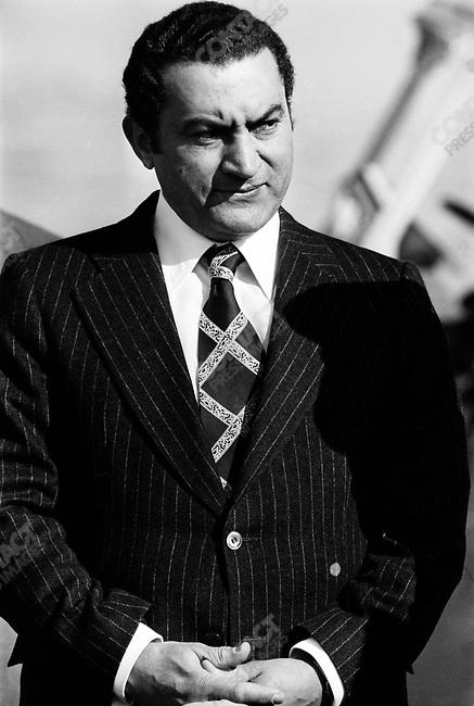 Hosni Mubarak, Egyptian Vice-President, at the Ismailia Summit.  Ismailia, Egypt, December 1977