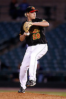 June 3, 2009:  Relief Pitcher Ben Hendrickson of the Rochester Red Wings delivers a pitch during a game at Frontier Field in Rochester, NY.  The Rochester Red Wings are the International League Triple-A affiliate of the Minnesota Twins.  Photo by:  Mike Janes/Four Seam Images