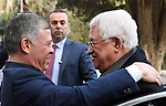 Jordanian King Abdullah II meets with Palestinian President Mahmoud Abbas, in Amman, Jordan, on December 7, 2017. Photo by Thaer Ganaim