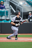 Jordan Mountford (33) of the Bryant Bulldogs follows through on his swing against the Coastal Carolina Chanticleers at Springs Brooks Stadium on March 13, 2015 in Charlotte, North Carolina.  The Chanticleers defeated the Bulldogs 7-2.  (Brian Westerholt/Four Seam Images)