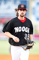 Felix Jorge (35) shortstop for the Chattanooga Lookouts runs off the field after the third out in the inning against the Montgomery Biscuits on May 25, 2018 at AT&T Field in Chattanooga, Tennessee. (Andy Mitchell/Four Seam Images)