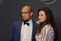 20170208 – LINT ,  BELGIUM : Idriss Saadi (L) pictured during the  63nd men edition of the Golden Shoe award ceremony and 1st Women's edition, Wednesday 8 February 2017, in Lint AED studio. The Golden Shoe (Gouden Schoen / Soulier d'Or) is an award for the best soccer player of the Belgian Jupiler Pro League championship during the year 2016. The female edition is a first in Belgium.  PHOTO DIRK VUYLSTEKE | Sportpix.be
