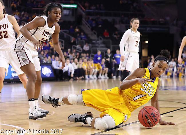SIOUX FALLS, SD: MARCH 6: Alexis Alexander #1 of South Dakota State tries to control a loose ball as Danielle Lawrence #14 of IUPUI looks on during the Summit League Basketball Championship on March 6, 2017 at the Denny Sanford Premier Center in Sioux Falls, SD. (Photo by Dick Carlson/Inertia)