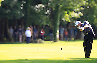 Paul Lawrie (SCO) plays his 2nd shot on the 18th hole during Friday's Round 2 of the 2014 Irish Open held at Fota Island Resort, Cork, Ireland. 20th June 2014.<br /> Picture: Eoin Clarke www.golffile.ie