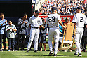 Mariano Rivera (Yankees),<br /> SEPTEMBER 22, 2013 - MLB :<br /> Mariano Rivera (C) of the New York Yankees is presented with a rocking chair by manager Joe Girardi #28 and Derek Jeter #2 during his retirement ceremony before the Major League Baseball game against the San Francisco Giants at Yankee Stadium in The Bronx, New York, United States. (Photo by Thomas Anderson/AFLO) (JAPANESE NEWSPAPER OUT)