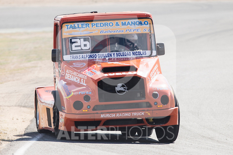 Czech driver Jiri Forman belonging Czech team Buggyra International Racing System during the fist race R1 of the XXX Spain GP Camion of the FIA European Truck Racing Championship 2016 in Madrid. October 01, 2016. (ALTERPHOTOS/Rodrigo Jimenez)