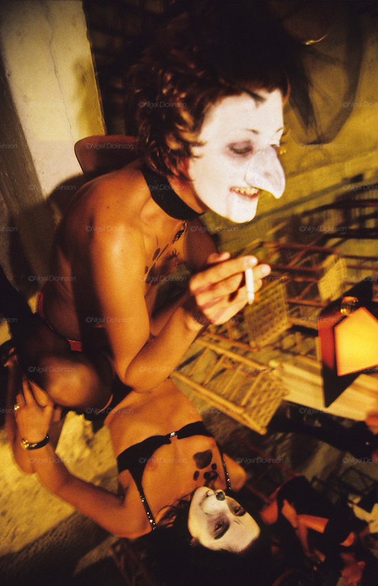 TOURISM CLUBBING, Ibiza. Drag queens get ready for the night ahead. Ibiza & Formentera, Baleares islands, Spain, Mediterranean, Europe. Popular holiday resort catering mainly for european tourists. Summer high season, April until September. Well known for 24 hour nightclubbing, package holidays, jet set, all night raves, dancing, techno clubs, drag queens & gay scene, discotheques, speciality theme nights, soapsuds, foam parties, espuma, la mousse. Attractions include shopping, beaches, watersports, boating..