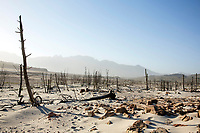 VILLIERSDORP, SOUTH AFRICA – FEBRUARY 8: An overview of a dry area in Theewaterkloof dam on February 8, 2018 in Villiersdorp about 100 kilometers outside Cape Town, South Africa. The dam is the biggest around Cape Town and it has a capacity of 480 million meters, providing most of the water for the 4 million inhabitants of Cape Town. The city of Cape Town is experiencing a water shortage and water restrictions are in place. The big users of water are not the poor in the townships but the wealthy people in the suburbs who have pools and gardens. (Photo by Per-Anders Pettersson)