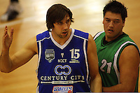 Kevin Owens and James Paringatai during the NBL Round 14 match between the Manawatu Jets  and Wellington Saints. Arena Manawatu, Palmerston North, New Zealand on Saturday 31 May 2008. Photo: Dave Lintott / lintottphoto.co.nz