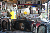 The interior of a large and well decorated motor rickshaw, Jodhpur, India