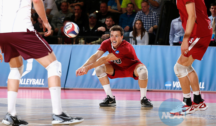 03 MAY 2014:  Brian Cook (10) of Stanford digs the ball against Loyola during the NCAA Division I Men's Volleyball Championship held at Gentile Arena in Chicago, IL.  Loyola defeated Stanford 3-1 to win their first ever volleyball national title.  Steve Woltmann/NCAA Photos