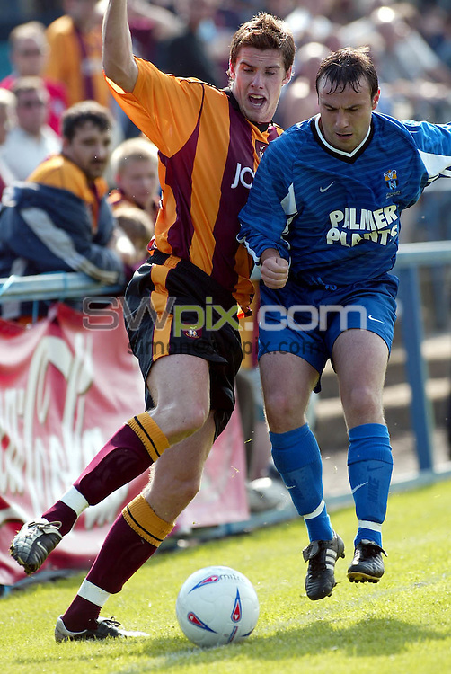 Pix, Shaun Flannery/SWpix. Pre season friendly..Farsley Celtic v Bradford City, 3/8/2002..COPYRIGHT PICTURE>>SIMON WILKINSON>>01943 - 436649>>..City's Andy Gray challenges Farsley's Simon Ball.