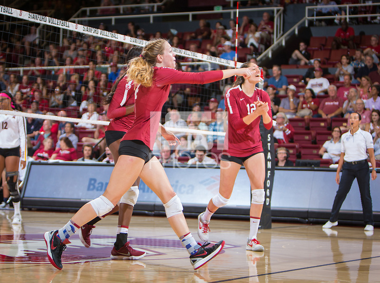 STANFORD, CA - September 9, 2018: Meghan McClure, Audriana Fitzmorris at Maples Pavilion. The Stanford Cardinal defeated #1 ranked Minnesota 3-1 in the Big Ten / PAC-12 Challenge.