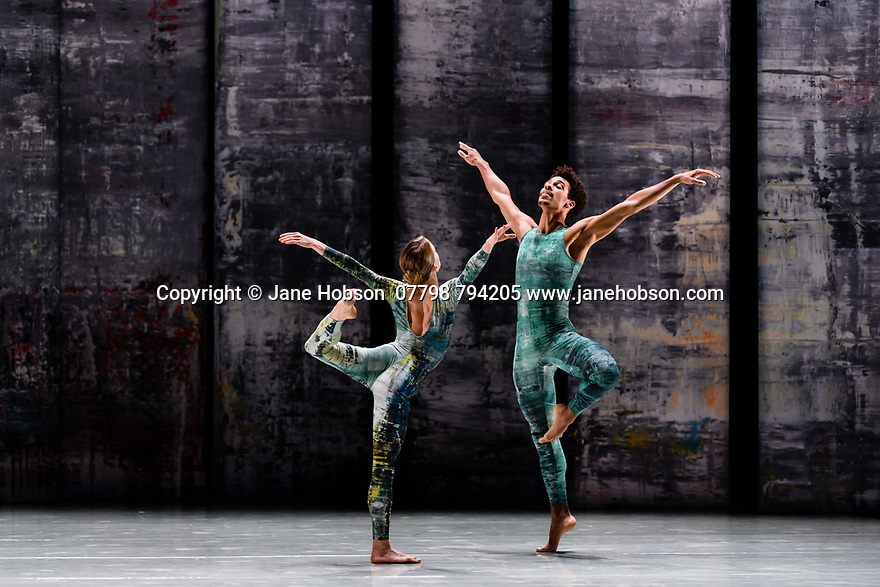 London, UK. 07.11.2019. Rambert presents RAMBERT EVENT, by Merce Cunningham, at Sadler's Wells. Choreography by Merce Cunningham, staging by Jeannie Steele, Music by Philip Selway, Quinta and Adem Ilhan, designs inspired by Gerhard Richter's 'Cage' series, performed by Rambert. The dancers are: Hannah Rudd, Liam Francis. Photograph © Jane Hobson.
