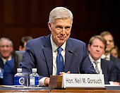 Judge Neil Gorsuch testifies before the United States Senate Judiciary Committee on his nomination as Associate Justice of the US Supreme Court to replace the late Justice Antonin Scalia on Capitol Hill in Washington, DC on Monday, March 20, 2017.<br /> Credit: Ron Sachs / CNP<br /> (RESTRICTION: NO New York or New Jersey Newspapers or newspapers within a 75 mile radius of New York City)