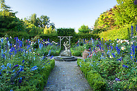 """France, Normandy, Jardins du pays d'Auge:""""jardin de l'amour courtois"""" (""""garden of courtly love"""") consists of four squares bordered with box with roses and delphinium.(Obligatory mention of the garden's name. Only use for press and books, other use require the prior agrees of the owner.)"""