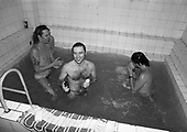 IRON MAIDEN - taking an after-show communal bath at the Sportshall Aleja Politechniki in Lodz Poland - 09 Aug 1984.  Photo credit: George Bodnar Archive/IconicPix
