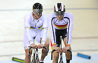 Southland's Eddie Dawkins, left, and Jeremy Presbury at the BikeNZ Elite & U19 Track National Championships, Avantidrome, Home of Cycling, Cambridge, New Zealand, Sunday, March 16, 2014. Credit: Dianne Manson