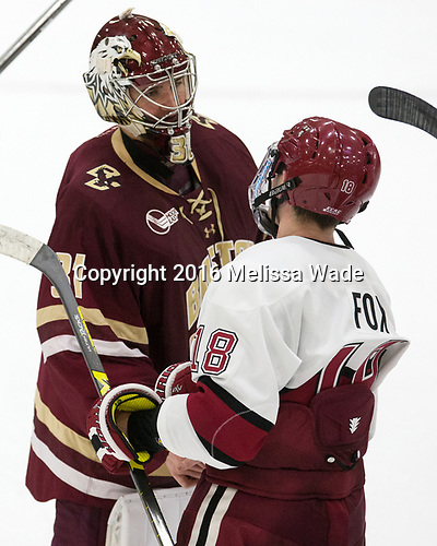 Joe Woll (BC - 31), Adam Fox (Harvard - 18) - The Harvard University Crimson defeated the visiting Boston College Eagles 5-2 on Friday, November 18, 2016, at the Bright-Landry Hockey Center in Boston, Massachusetts.