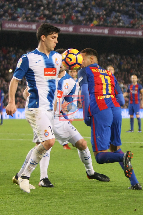 League Santander 2016/2017. Game: 16.<br /> FC Barcelona vs RCD Espanyol: 4-1.<br /> Javi Lopez vs Neymar Jr.