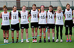 FRANKFURT AM MAIN, GERMANY - April 14: (L-R) Emily Patterson #19 of Germany, Monika Ziegler #18 of Germany, Laura Koschorek #17 of Germany, Anna Blank #16 of Germany, Colleen O'Connor #15 of Germany, Lisa Neubert #14 of Germany, Katharina Schroer #13 of Germany and Eva Schulte #12 of Germany during the national anthem before the Deutschland Lacrosse International Tournament match between Germany vs Great Britain during the on April 14, 2013 in Frankfurt am Main, Germany. Great Britain won, 10-9. (Photo by Dirk Markgraf)