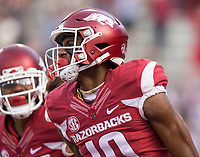 Hawgs Illustrated/BEN GOFF <br /> Jordan Jones, Arkansas wide receiver, celebrates after catching a pass for a 57 yard touchdown in the first quarter Friday, Nov. 24, 2017, at Reynolds Razorback Stadium in Fayetteville.